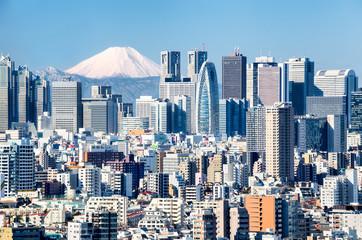 Photo sur Aluminium Tokyo Tokyo mit Fuji im Hintergrund