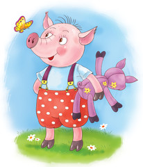 Three little pigs. Fairy tale. A cute pig with toy. Illustration for children
