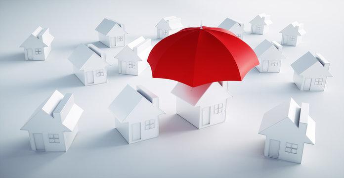 Weißes Häus mit rotem Schirm