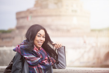 Happy Woman In Rome