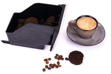 Pressed coffee waste container