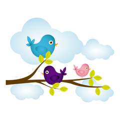 colorful cloudscape with birds on branch with leaves vector illustration
