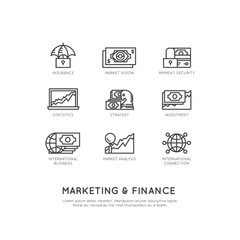 Vector Icon Style Illustration of Marketing and Finance, Business Vision, Investment, Management Process, Finance Job, Income, Revenue Source, Marketing Skill, Isolated Minimalistic Objects