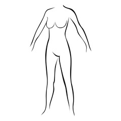 female stylized body contour without extremities icon vector illustration