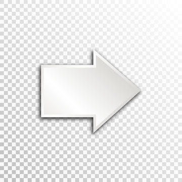 Empty white paper plate base for text. Simple arrow form card on transparent background