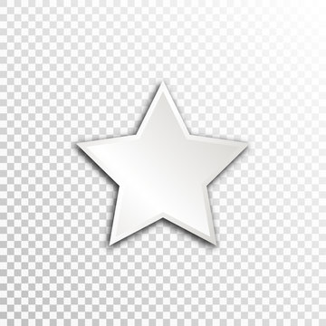 Empty white paper plate base for text. Simple star form card on transparent background