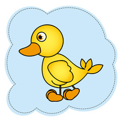 cloud frame with yellow duck side view animal icon vector illustration