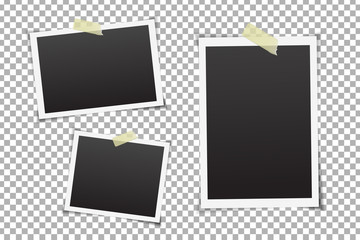 Vector collection of photo frames on the transparent background.