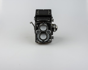 Medium format bioptical camera, analog photography