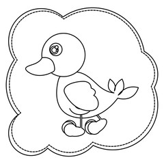 silhouette cloud frame with duck side view animal icon vector illustration