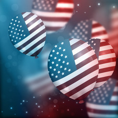 Vector background with realistic air balloons with American flag and sparks. Concept of Happy Independence Day.