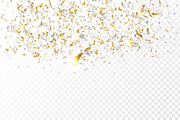 Vector golden confetti on the transparent background.