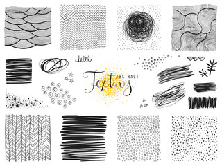 Set of abstract textures and scribble design elements. Vector illustration.