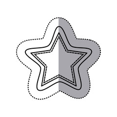 monochrome contour sticker of star shape frame callout dialogue vector illustration