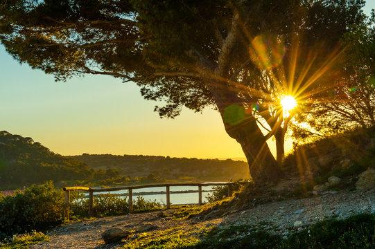 Blick vom Tour Barberousse auf den Etang de Gruissan mit strahlender Sonne