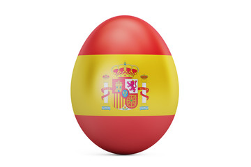 Easter egg with flag of Spain, 3D rendering