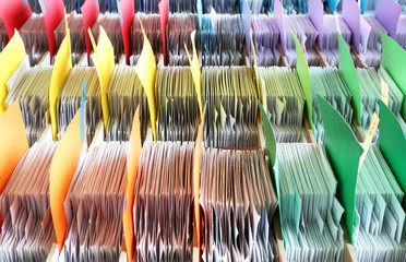 Colorful archives documents files and folders