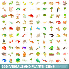 100 animals and plants icons set, cartoon style