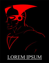 super hero, red lines over the black background.