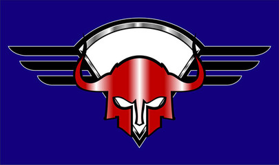 red warrior head  over the winged shield.  red sparta mask over the winged shield