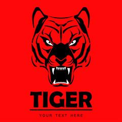 tiger, tiger head on red