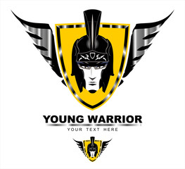 Young Warrior. Young Warrior head on the winged shield .