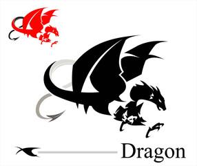 Flying Dragon. Attacking Dragon. Black Dragon.
