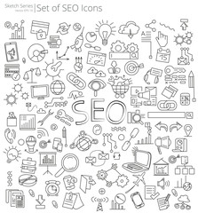 Hand Drawn SEO icons. Vector Illustration of large set of Social Media icons and doodles. Hand Drawn Sketch Style.
