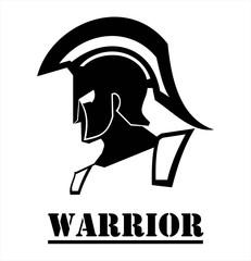 Sparta warrior head. Trojan helmet. Warrior helmet. illustration of an ancient roman warrior head. Historical Sparta concept icon. Ancient Greek head warrior