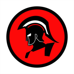 red sparta, red centurion. Trojan warrior on the red circle background. Historical Sparta concept icon. suitable for team mascot, community icon, emblem, product identity, corporate identity, etc.