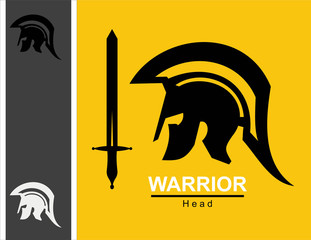 sword and centurion.Sparta warrior head and sword combine with text. Spartan helmet and sword.Trojan helmet and sword. Warrior helmet and sword. Historical Sparta concept icon.Ancient Roman Centurion.