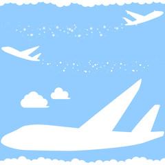 キラキラ飛行機雲 シルエット