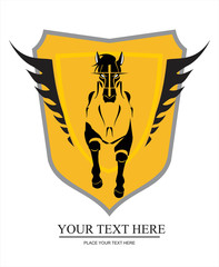 Running horse on the winged shield. suitable for team identity, sport club mascot, insignia, emblem, illustration for apparel, mascot, equestrian club, motorcycle community, corporate identity, etc.