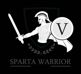 sparta. warrior. Spartan Warrior holding shield and sword over the shield icon and  laurel wreath