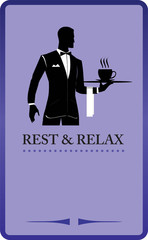 Waiter holding a tray. Restaurant. Coffee shop design elements.