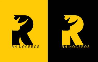 R. Rhinoceros typhography. Rhino. Rhinoceros. R alphabet.