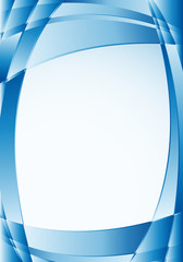 Abstract blue background with waves and a white square in the middle to place texts. Size A4 - 21cm x 30cm - Vector image