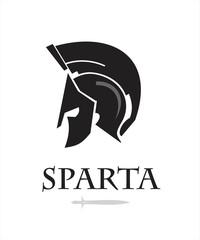 spartan warrior head. knight logo. trojan helmet