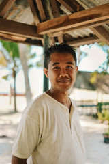 Middle-aged farmer in Asian province