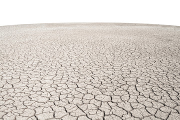 Soil drought cracks texture white background for design. Wall mural