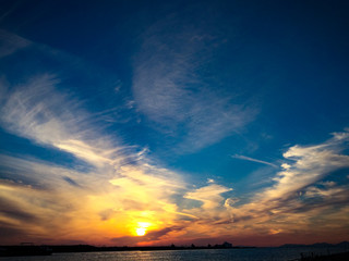 広がる空と街に沈む太陽を対岸から眺めた夕焼け空。まだ一日が整理しきっていないけれども、早々と太陽は沈んでしまう様子。