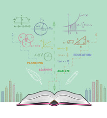 Open book and mathematical formulas. Drawing of book on the table in doodle style. Concept for education.