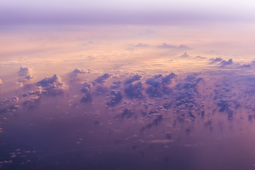 Keuken foto achterwand Candy roze clouds view from the window of an airplane