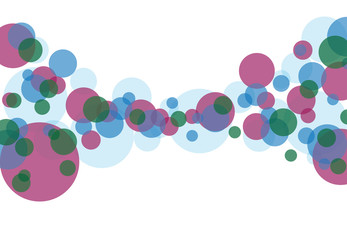 White background business illustration of colorful bubbles and bokeh.