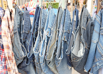 closeup of jeans in a shop