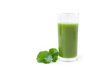 Gotu kola's leafs drink on white background, health care and herb medical concept