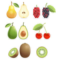 Set of colorful fruit icons pear, mulberry, cherry, kiwi, avocado. Vector illustration.