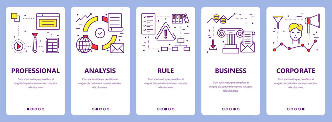 Vector set of thin line flat design criteria concept banners