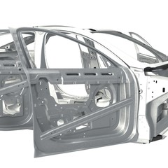 Sedan without cover with opened doors on white. 3D illustration
