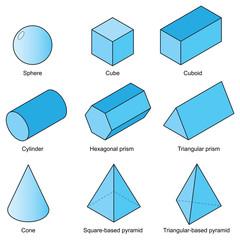 3d shape set isolated on white background vector.illustration eps10